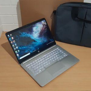 HP 14S-DK0005AU AMD A4-9125 ram 4GB SSD NVME M.2 256GB, slim istimewa mulus keyboard nyala, garansi resmi sampai Mei 2022